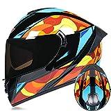 ZYW Los Hombres Y Las Mujeres Casco De Motocicleta Cuatro Estaciones Fuera De La Carretera Casco Integral Aprobado por El Dot Montaña Quad Casco Moto Moto Scooter,Verde,M