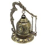 DSHRTY Estatua,Budismo Latón Cobre Dragón Campana Reloj Estatua Tallada Lotus Buda Artes Estatua Reloj Artesanías Decorativas para el hogar, Buda, 2