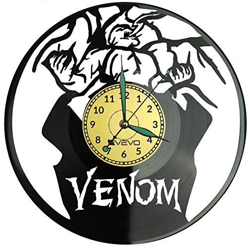 Reloj de pared Venom de vinilo, diseño retro, gran reloj, estilo espacial, decoración del hogar, gran regalo para amigo, hombre, vinilo, decoración del hogar, sala de estar, pared inspiradora
