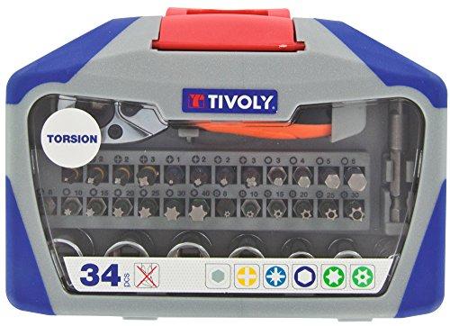 TIVOLY 11521572008 - Juego TORSIÓN 34 Pcs Mix 5 Pz / 4 Ph / 7 Tx / 6 TTx / 4 Hexa / 7 Casquillos + 1 casquillos adaptator 1/4' + 1 mango de trinquete 1/4' (Envase de 34 pz.)