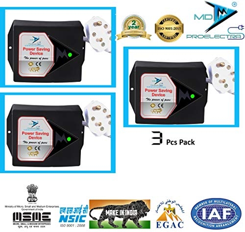 MD Proelectra (MDP08) Power Saver Updated Electricity Saving Device (Electricity Saver) for Residential and Commercial with 24 Months Warranty -Made in India (Black, Pack of 3) -2 Pcs