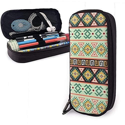 Bolígrafo Estuche Bolso Sin costura Raster Patrón étnico decorativo con adornos geométricos.