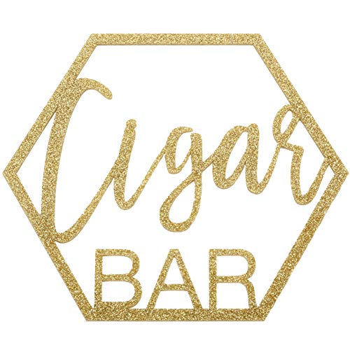 Koyal Wholesale Glitter Acrylic Sign, Wedding Display, Party Banner, Event Decorations for Wedding Engagement Bridal Shower Baby Shower Birthday Party Dessert Bar (Cigar Bar)
