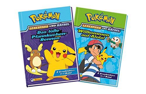 Nelson Pokémon Lesespass und Rätsel - Set: Das tolle Pfannkuchen-Rennen + Willkommen in Alola! (je 2 Geschichten in 1 Band, Pokemon Buch Kinder)