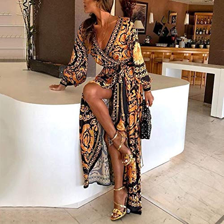 Maxcrestas - ファッションエレガントな女性のセクシーなボートネックグリッターディープVネックドレスパーティーフォーマルロングドレスを印刷