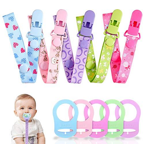 Clip per Ciuccio e Silicone Pulsante Anello, Gnews 5 pc Clip Ciuccio Catena + 5 pc Silicone Catena Pulsante Fisso Regolare Per Baby
