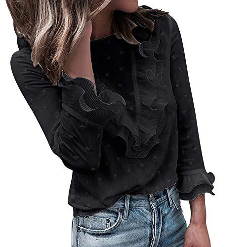 VJGOAL Moda Mujer Casual Encaje Sexy Lunares O Cuello Dulce Volante Camiseta Manga Larga Tops Blusa (S, X-Negro)