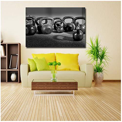NIESHUIJING Drucken auf Leinwand Moderne HD-gedruckte Leinwand Kunst Fitnessgeräte Viele Hanteln Schwarzes Gemälde Poster Wandbilder 60 x 80 cm (23,6