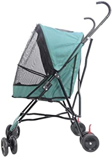 Zzyff Pet Stroller, Portable Folding Car to Help Dog Cat Stroller, Baby Cage Car, Four-Wheel Shockproof Pet Travel Outdoor Cart, Load 10kg, Green Durable