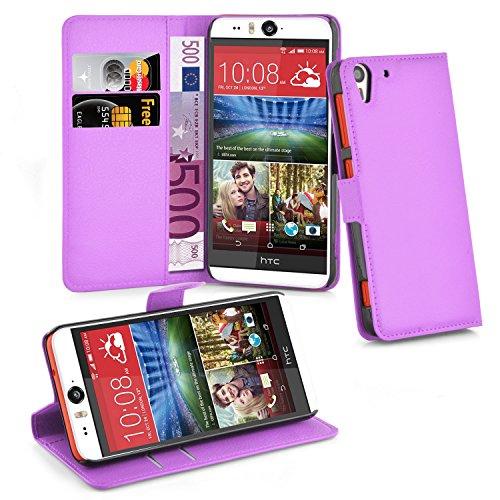 Cadorabo Hülle für HTC Desire Eye - Hülle in Mangan VIOLETT – Handyhülle mit Kartenfach & Standfunktion - Hülle Cover Schutzhülle Etui Tasche Book Klapp Style