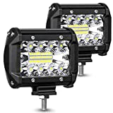AMBOTHER LED Pods Light Bar 4-Inch 120-watt 12800-lumen Driving Fog Off Road Lights Triple Row Waterproof Spot Flood Combo Beam LED Cubes Lights for Pickup Truck Jeep ATV UTV SUV Boat, 2 Pack