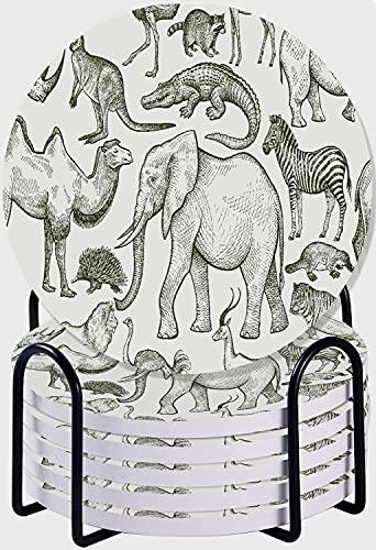 GUVICINIR Juego de 6 Posavasos de cerámica Absorbente con Base de Corcho,Apto para Tipos de Tazas,Animales de Patrones sin Fisuras del Mundo Salvaje
