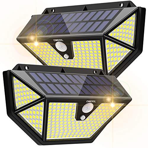 Lampe Solaire Extérieur [2 Packs 286 LEDs - 2600 lumens]OMERIL Lumière Solaire avec Détecteur de Mouvement,3 Modes d'éclairage, Grand Angle de 270 °, Applique Solaire Extérieur Étanche pour Jardin