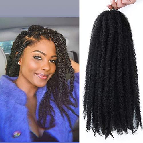 18 Inch 4 Packs Afro Kinky Curly Bulk Hair Extensions Crochet hair Marley Twist Braiding Hair Kanekalon Synthetic Marley Braids Hair For Women(1B)