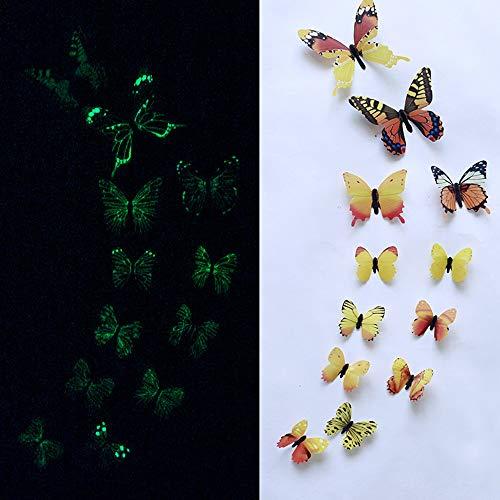 99native Glow In The Dark Butterfly Aufkleber,12 Stück 3D Luminous Butterfly Kunst Fluorescent Wandaufkleber Room Magnetic Home Decor,Leuchtende Kinderzimmer Schlafzimmer Wohnkultur (Gelb)