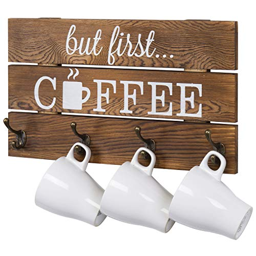 MyGift 8-Hook Rustic Brown Solid Wood Mug Storage Rack Wall Mounted Decorative Sign with But First Coffee Quote Design