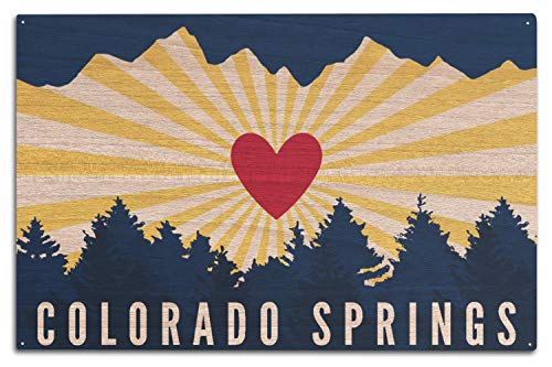 Lantern Press Colorado Springs - Heart and Treeline Mountains (10x15 Wood Wall Sign, Wall Decor Ready to Hang)