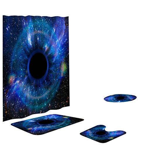 Xmiral Duschvorhänge Badezimmerteppich U-Pad über WC-Sitzkissen 4 Stück Satz Universum Sternenhimmel Serie Badezimmer Rutschfeste Zubehör(N)