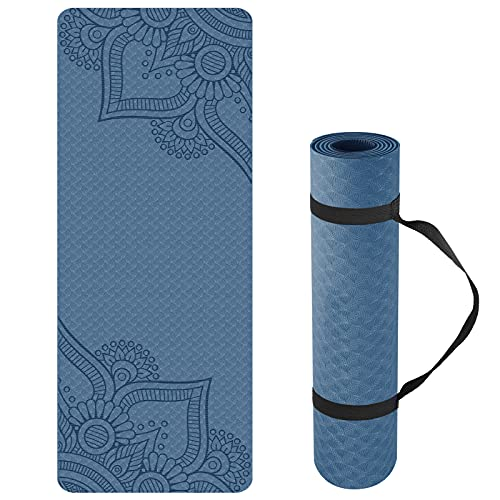 Yoga Mat Non Slip, Pilates Fitness Mats with Alignment Marks, Eco Friendly, Anti-Tear Yoga Mats for Women, Exercise Mats for Home Workout with Carrying Strap