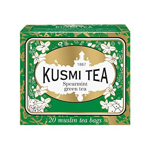 Kusmi Tea Grüner Tee mit Minze - Heiß oder Eisgekühlt Genießen - Traditionell Durstlöschender Tee mit Gunpowder Grüntee und Minzblättern - 20 Musselin Teebeutel