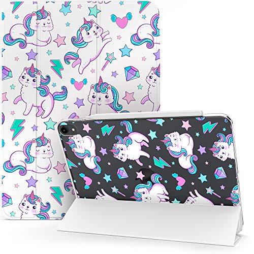 Lex Altern Case for Apple iPad Pro 12.9 2020 11 Air 3 2 10.2 8th Gen 2019 2018 10.5 inch Mini 5 4 9.7 Flip Caticorn Smart Cover Auto Wake Sleep Girly Kawaii Cat Unicorn Kitty Cute Stars Clear mch005