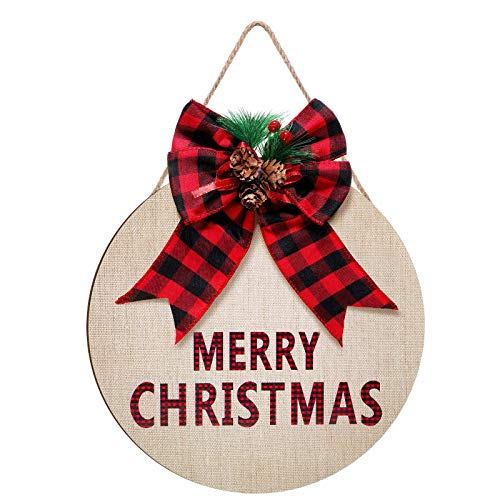 Merry Christmas Wreath Hanging Sign Front Door Round Wood Sign with Buffalo Checkered Bow, Rustic Christmas Linen Sign, Farmhouse Wreaths Christmas Hanging Decor for Christmas, 12 x 12 x 0.27 Inch