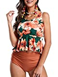 Misassy Womens High Waisted Peplum Swimsuit Set Ruffle Tankini Top Floral Two Piece Bathing Suits (Medium, ZZ-Orange)