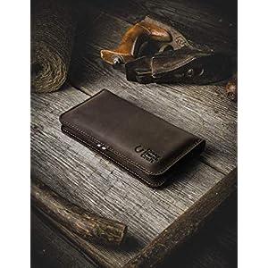 2020 iPhone 12, 12 Pro, 12 Pro Max, 12 Mini Leder Geldbörse/Hülle für zwei Telefone | Wood Brown, Wollfilz…