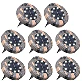 Tomshine Disk Lights, Solar Ground Lights Outdoor, Waterproof 8 LED Solar Lights, Outdoor Walkway Deck for Patio Pathway Lawn Yard Driveway (Cool White, 8 Pack)
