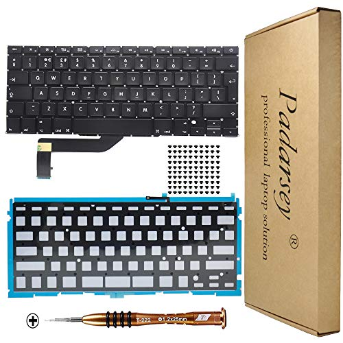 Padarsey New Replacement UK Layout Backlit Keyboard Compatible For Macbook Pro 15' A1398 2013 2014 2015 Retina W/Screws With 80pcs screws + Screwdriver