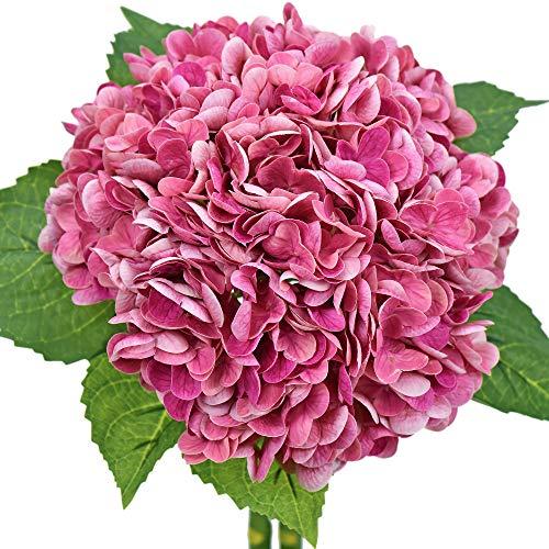 FiveSeasonStuff Real Touch Silk (Magenta Pink) Hydrangea Flowers, 2 Large Long Stem Artificial Flowers for Floral Arrangements