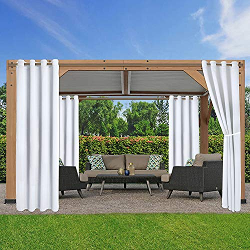 LORDTEX Waterproof Indoor/Outdoor Curtains for Patio - Thermal Insulated, Sun Blocking Blackout Curtains for Bedroom,...