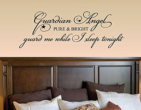 Guardian Angel Pure And Bright Guard Me While I Sleep Tonight Vinyl Wall Decals Quotes Sayings Words Art Decor Lettering Vinyl Wall Art Inspirational Uplifting