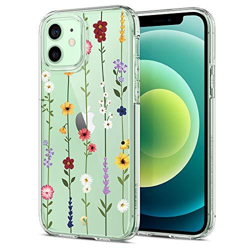 CYRILL Cecile kompatibel mit iPhone 12 Pro Hülle/iPhone 12 Hülle, Transparent Motiv Hart PC rückseite mit Soft Silikon Bumper Handyhülle Durchsichtige Case für iPhone 12 Pro - Blumen Garten
