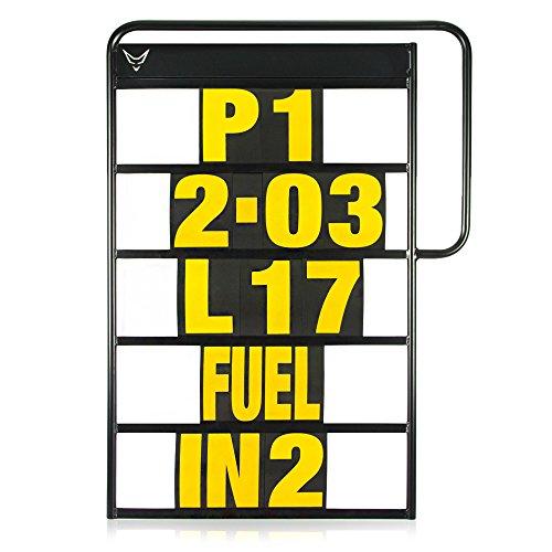 Pitboard, Boxentafel, Infotafel, Anzeigetafel, Rundenzeiten, Rennsport, Rennstrecke, Zeitnahme, Platzierung, klein, Set mit 37 Karten, neon gelb, RACEFOXX