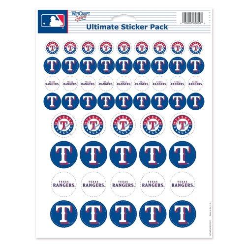 WinCraft MLB Texas Rangers Vinyl Sticker Sheet, 8.5' x 11'