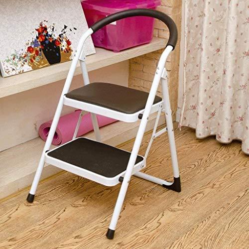 WYKDL Rango de Trabajo escalera con plataforma plegable del hogar taburete de paso ancho pedal robusto Escalera del Mango antideslizante aleación de aluminio Caja de seguridad Cama Escalera de acero a