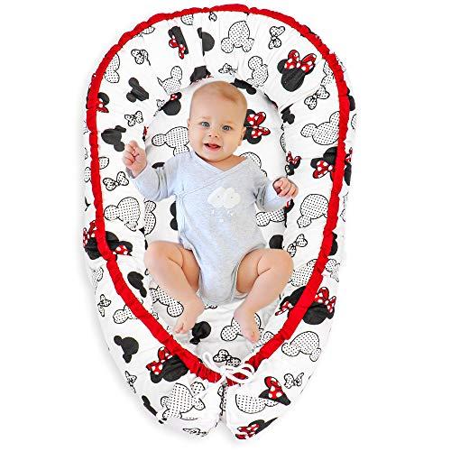 Nido para Bebe - Reductor de Cuna Nido Bebe Recien Nacido algodón con Certificado Oeko-Tex (1. Diseño de ratón, 90 x 50 cm)