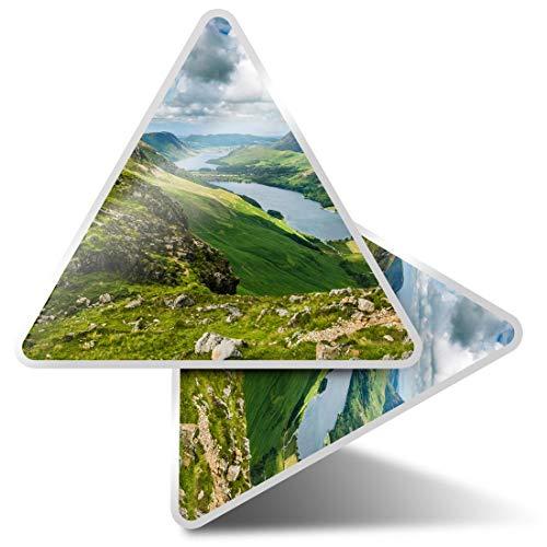 2 pegatinas triangulares de 10 cm - Buttermere Lake District England Fun Calcomanías para ordenadores portátiles, tabletas, equipaje, reserva de chatarra, neveras #15685