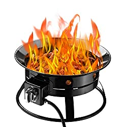 powerful Chris Moss Fire Pit Gas Propane 52000BTU Enamel Campfire Bowl for Camping, Party, Backyard, Patio