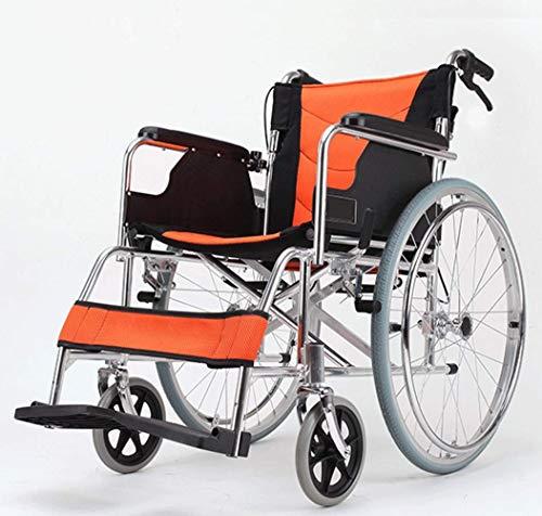KFDQ Medizinischer Reha-Stuhl, Rollstuhl, Ultraleichter, Atmungsaktiver, Zusammenklappbarer Rollstuhl Aus Aluminiumlegierung, Tragbarer, Behinderter Kinderwagen Mit Rückenpolster