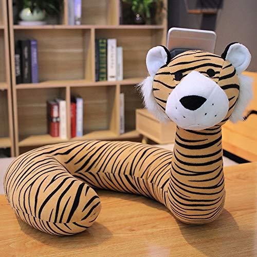 YAOJP Almohada De Viaje, 2 In1 Animal Adorable para El Apoyo De Cabeza, Cuello Y Espalda Ideal para El Uso del Avión Y El Hogar, Soporte para Teléfono Celular,Tiger