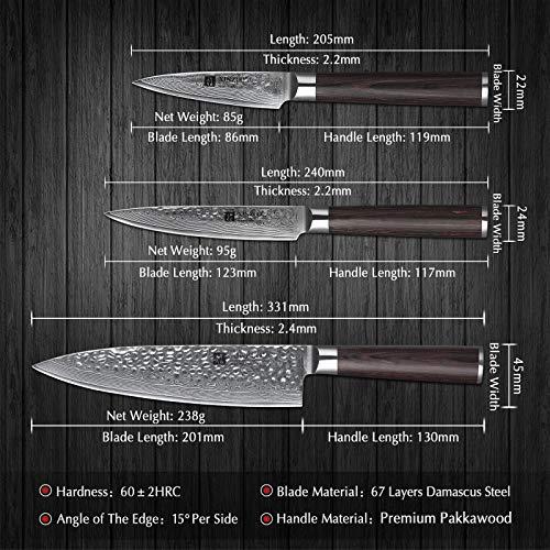 Xinzuo 5-Piece Damascus Steel Kitchen Knife Set