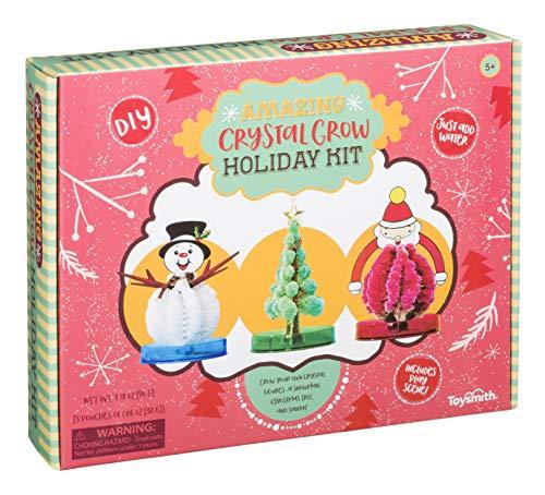 Toysmith Amazing Crystal Grow Holiday Kit Winter Décor - Christmas Tree, Santa Claus, Snowman Gift