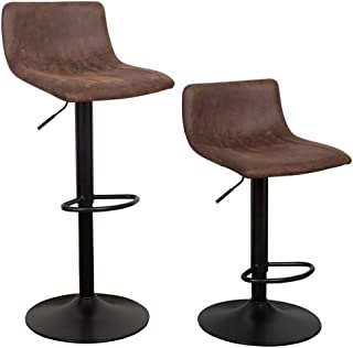 WAYTRIM Adjustable Bar Stools (Set of 2) Modern Swivel Barstools Chairs, 360 Degree Swivel Counter Height Chair for Bar Kitchen Indoor Outdoor Use, Retro Brown
