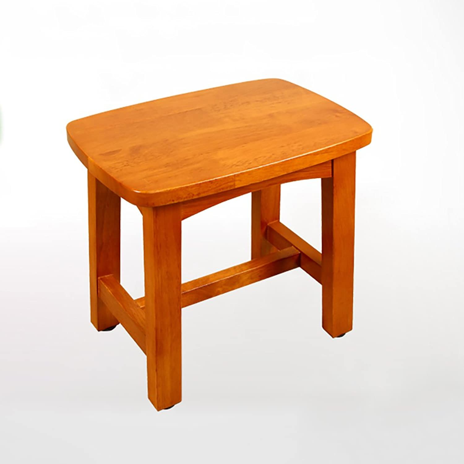 GWDJ Solid Wood Small Square Stool Shower Stool Anti-Corrosion Seat Bathroom Small Bench Doorway Change shoes Stool (30  30cm) Reinforced Footrest