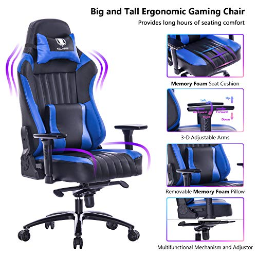 VON RACER Big and Tall 400lb Memory Foam Gaming Chair-Adjustable Tilt, Angle and 3D Arms Ergonomic High-Back Leather Racing Executive Computer Desk Office Metal Base (Blue) blue chair gaming