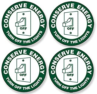 American Vinyl 4-Pack: Round Conserve Energy Turn Off The Lights Stickers (Decals for Hotel Rental Business Hospitality)