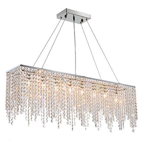 7PM Modern Linear Rectangular Island Dining Room Crystal Chandelier Lighting Fixture (Large L40