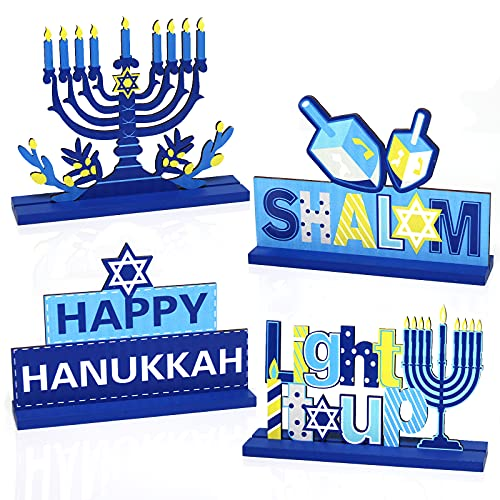 4 Pieces Hanukkah Party Decorations Wooden Chanukah Party Supplies Hanukkah Centerpieces Table Decorations for Home Party Holiday